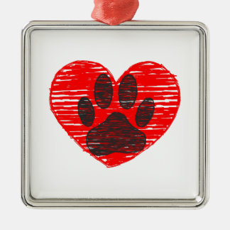 Sketched Dog Paw In Red Heart Silver-Colored Square Decoration