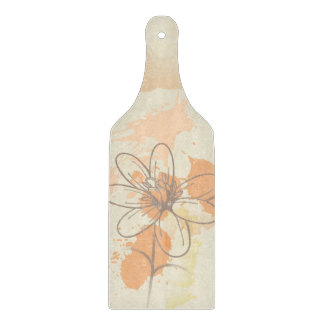 Sketched Floral on Watercolor Splats Cutting Board