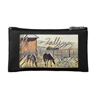 Sketched Horses Cosmetic Bag