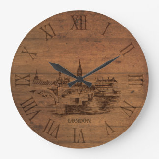 Sketched london city roman numerals wooden clock