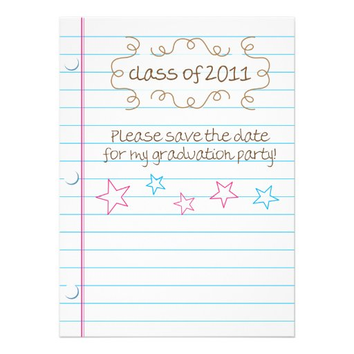 Sketched Loose Leaf Graduation Party Save the Date Personalized Announcement