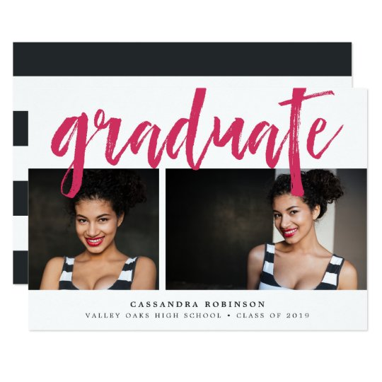 Sketched Pink | Photo Graduation Party Invitation