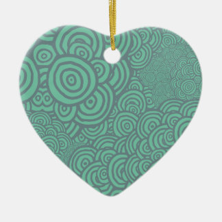 Sketched Rings Ceramic Heart Decoration