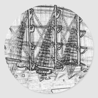 Sketched Ship Round Sticker