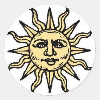 Sketched Sun Round Sticker