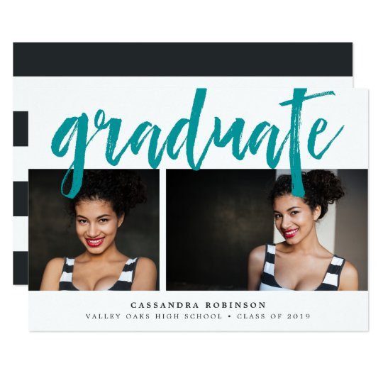 Sketched Teal | Photo Graduation Party Invitation