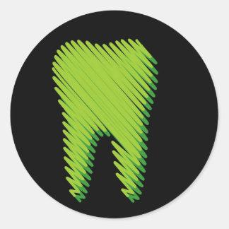 Sketched tooth round sticker