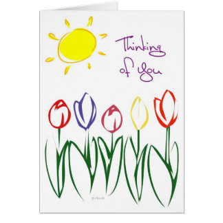 Sketched Tulips-Thinking Card