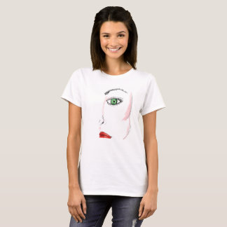 SKETCHED WOMAN GREEN EYES RED LIPS SHIRT