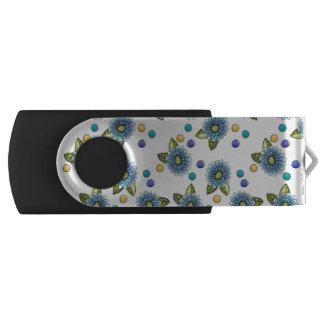 Sketchy Blue Flowers Swivel USB 3.0 Flash Drive