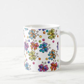 Sketchy Butterflies & Dots Coffee Mugs