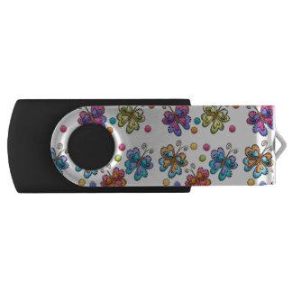 Sketchy Butterflies & Dots Swivel USB 3.0 Flash Drive