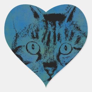 Sketchy Cat on Blue Heart Sticker