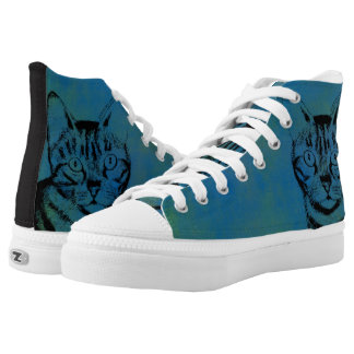 Sketchy Cat on Blue Printed Shoes