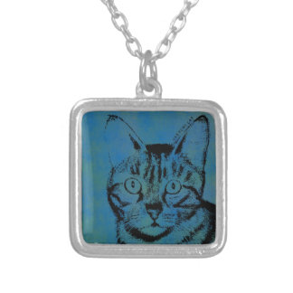 Sketchy Cat on Blue Silver Plated Necklace