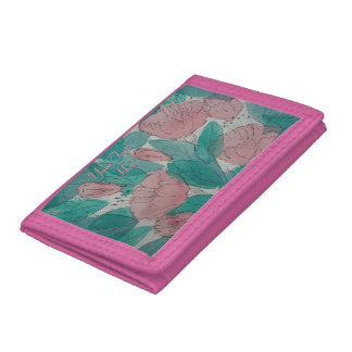 sketchy floral contempory original art design trifold wallet