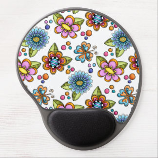 Sketchy Flowers & Butterflies Gel Mouse Pad