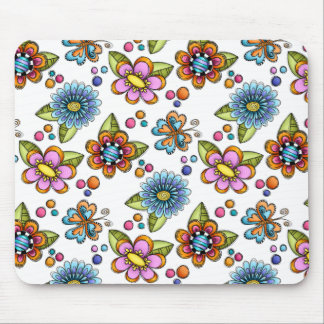 Sketchy Flowers & Butterflies Mouse Pads