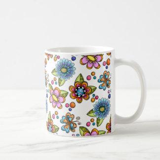 Sketchy Flowers & Butterflies Coffee Mugs