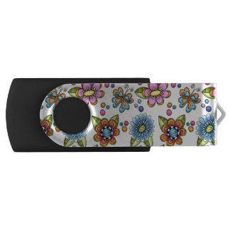 Sketchy Flowers & Butterflies Swivel USB 3.0 Flash Drive