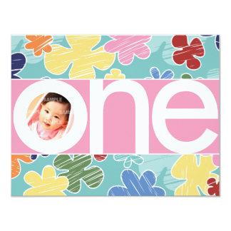 Sketchy Flowers First Birthday Pink 11 Cm X 14 Cm Invitation Card
