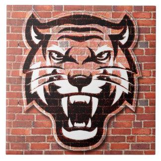 Sketchy Furious Tiger Face Ceramic Photo Tile