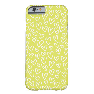 Sketchy Hearts Pattern iPhone 6 Case (Chartreuse)