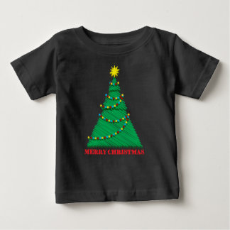 Sketchy Merry Christmas Tree Stroke Baby T-Shirt