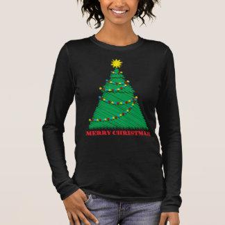 Sketchy Merry Christmas Tree Stroke Long Sleeve T-Shirt