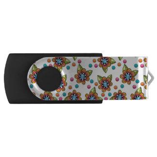 Sketchy Orange Flower Swivel USB 3.0 Flash Drive