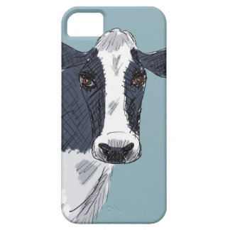 Sketchy Painted Cow in Blue Tones iPhone 5 Cover