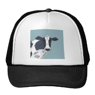 Sketchy Painted Cow in Blue Tones Trucker Hat