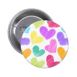 Sketchy pastel love hearts pattern 6 cm round badge