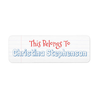 Sketchy Personalised Name School Classroom Sticker Return Address Label