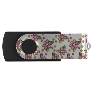 Sketchy Pink Flowers Swivel USB 3.0 Flash Drive