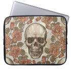 Sketchy retro rose skull laptop sleeve