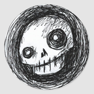 Sketchy Skull Round Sticker