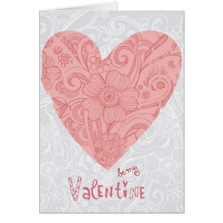 Sketchy Valentine's Doodle Heart and Swirls Greeting Card