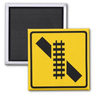 Skewed Rail Crossing Highway Sign Square Magnet