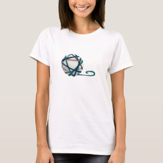 SKG Yarn Baseball with Back text T-shirt