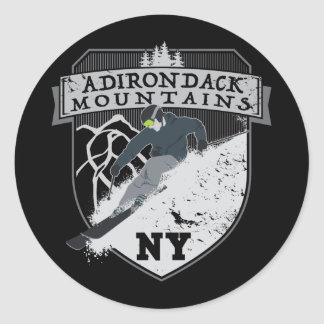 Ski Adirondack Mountains, NY Classic Round Sticker