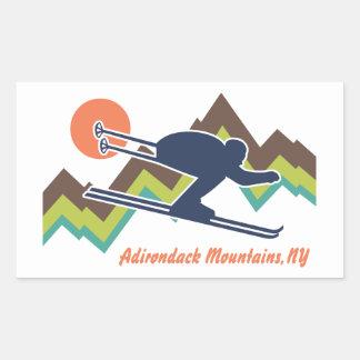 Ski Adirondack Mountains NY Rectangular Sticker