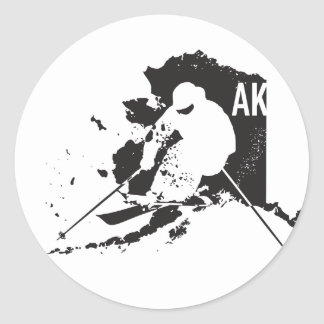 Ski Alaska Round Sticker