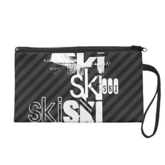 Ski; Black & Dark Gray Stripes Wristlet Purse