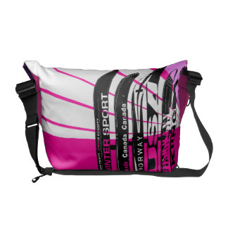 Ski Blade Winter Sport Stripe Pink Messenger Bag