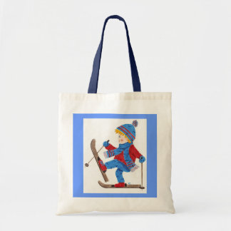 Ski boy small tote bag