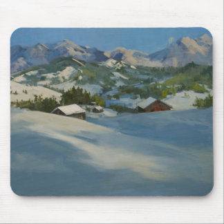 Ski Cabins in the Mountains Mouse Pad