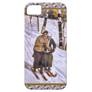 Ski couple - Happy Christmas skiing iPhone 5 Cover