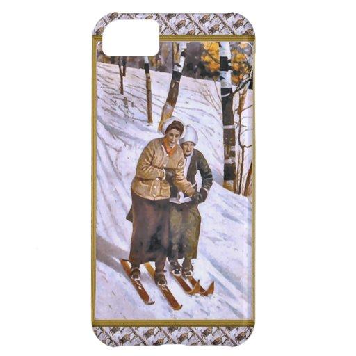 Ski couple - Happy Christmas skiing iPhone 5C Case