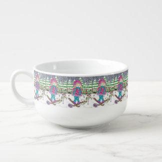 Ski girl pattern soup bowl